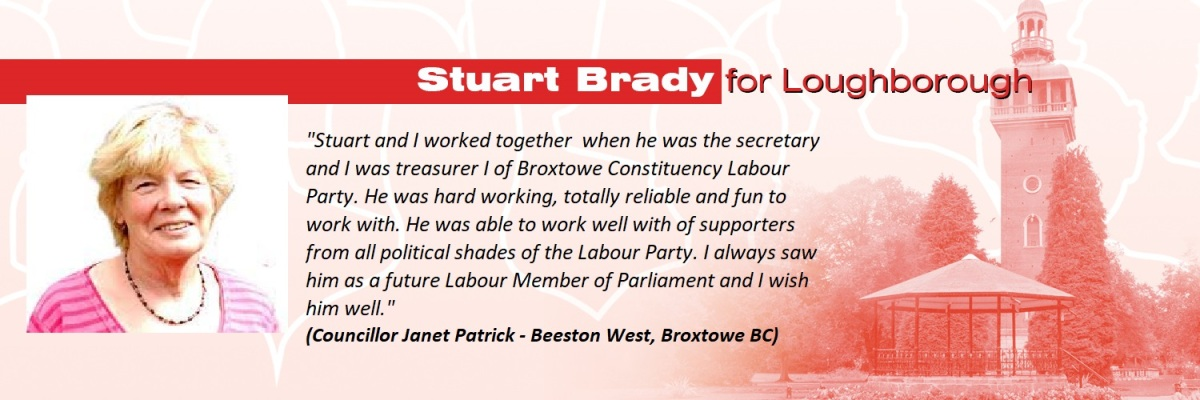 Glad to be able to share these supportive comments for my Loughborough PPC campaign from longtime Labour activist and Councillor Janet Patrick